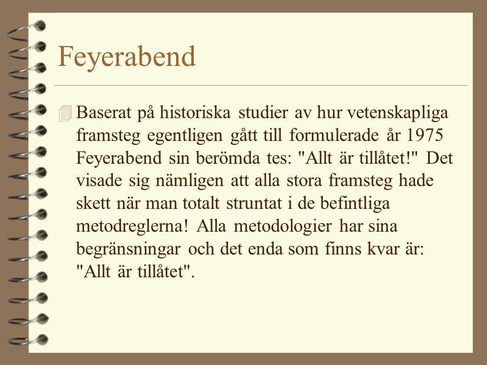 Feyerabend 4 Baserat på historiska studier av hur vetenskapliga framsteg egentligen gått till formulerade år 1975 Feyerabend sin berömda tes: