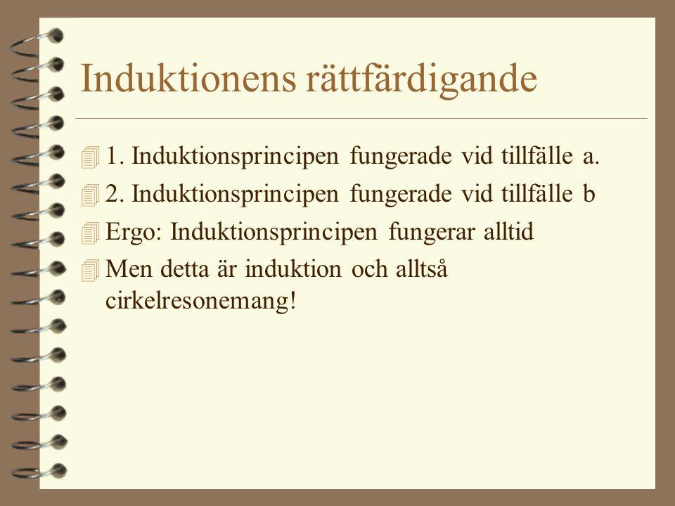 Induktionens rättfärdigande 4 1. Induktionsprincipen fungerade vid tillfälle a. 4 2. Induktionsprincipen fungerade vid tillfälle b 4 Ergo: Induktionsp