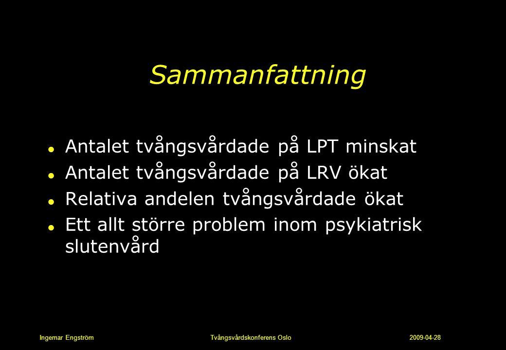 Ingemar Engström Tvångsvårdskonferens Oslo 2009-04-28 Sammanfattning l Antalet tvångsvårdade på LPT minskat l Antalet tvångsvårdade på LRV ökat l Rela