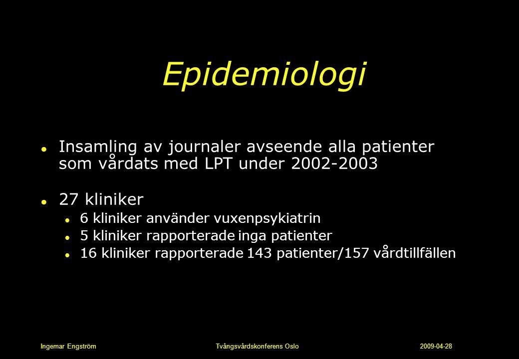 Ingemar Engström Tvångsvårdskonferens Oslo 2009-04-28 Epidemiologi l Insamling av journaler avseende alla patienter som vårdats med LPT under 2002-200