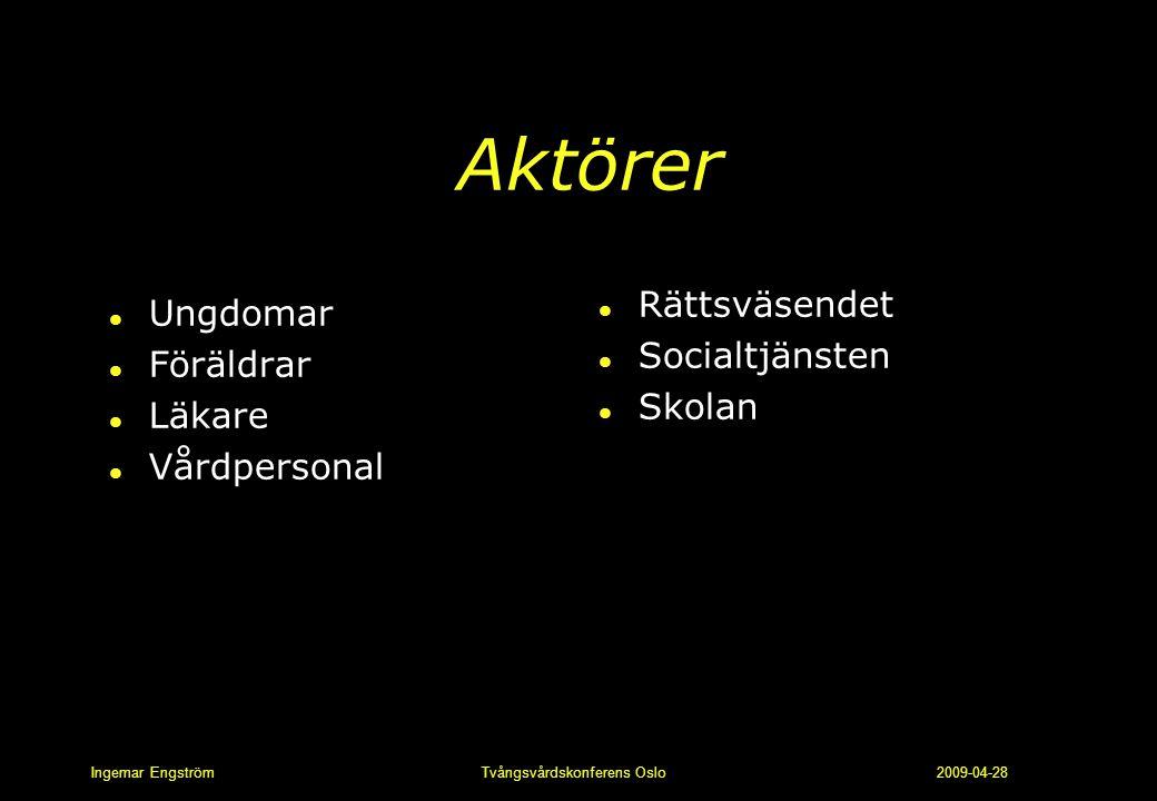 Ingemar Engström Tvångsvårdskonferens Oslo 2009-04-28 Aktörer l Ungdomar l Föräldrar l Läkare l Vårdpersonal l Rättsväsendet l Socialtjänsten l Skolan