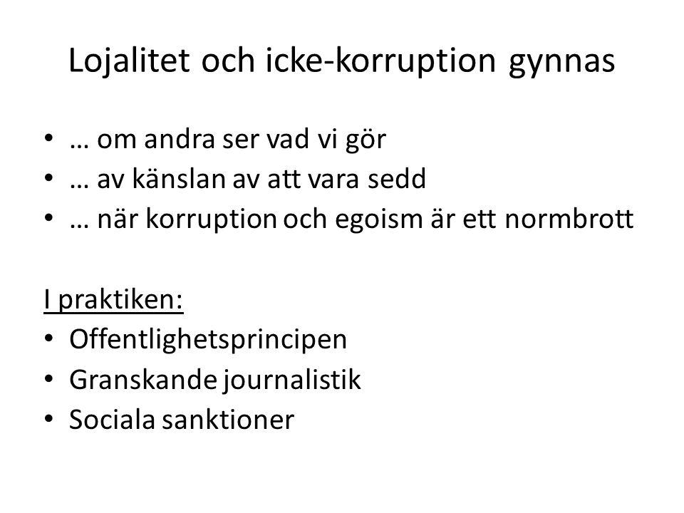 Lojalitet och icke-korruption gynnas • … om andra ser vad vi gör • … av känslan av att vara sedd • … när korruption och egoism är ett normbrott I prak