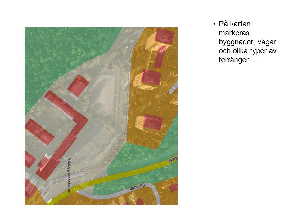 •När kartan är klar visar den en förenklad bild av verkligheten där man lyft fram de detaljer som är intressanta för typen av karta (i detta fall en tätortskarta där hus och vägar har störst betydelse)