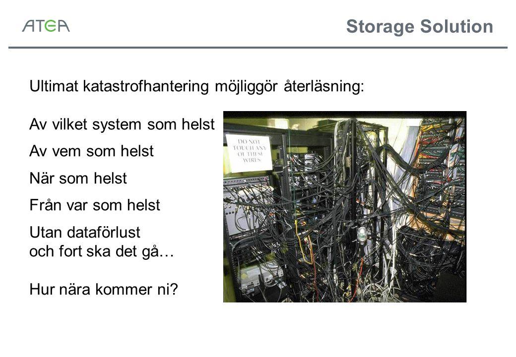 Storage Solution Ultimat katastrofhantering möjliggör återläsning: Av vilket system som helst Av vem som helst När som helst Från var som helst Utan dataförlust och fort ska det gå… Hur nära kommer ni?