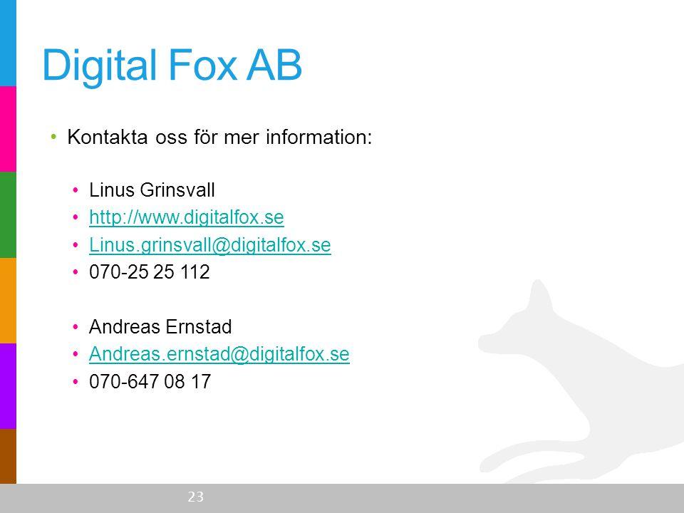 •Kontakta oss för mer information: •Linus Grinsvall •http://www.digitalfox.sehttp://www.digitalfox.se •Linus.grinsvall@digitalfox.seLinus.grinsvall@di