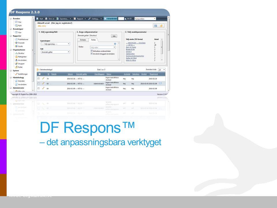 •Brittmarie Ahlm, Karlskoga kommun Anledningen till att vi valde DF Respons var användarvänligheten för sällananvändarna.