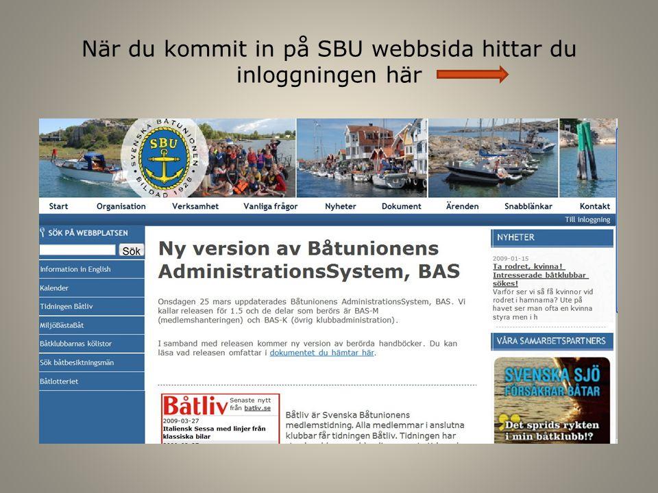 När du kommit in på SBU webbsida hittar du inloggningen här