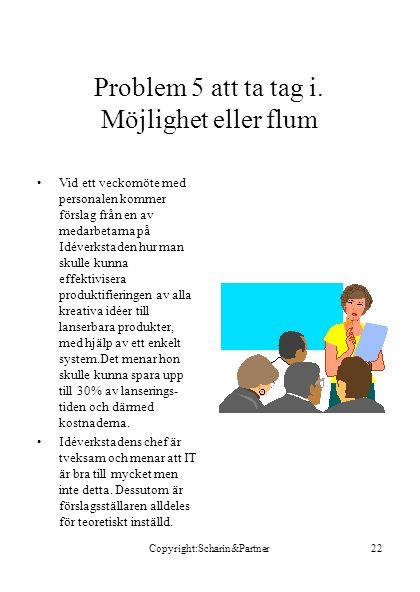 Copyright:Scharin&Partner22 Problem 5 att ta tag i.