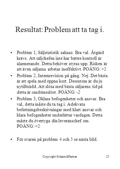 Copyright:Scharin&Partner23 Resultat: Problem att ta tag i.