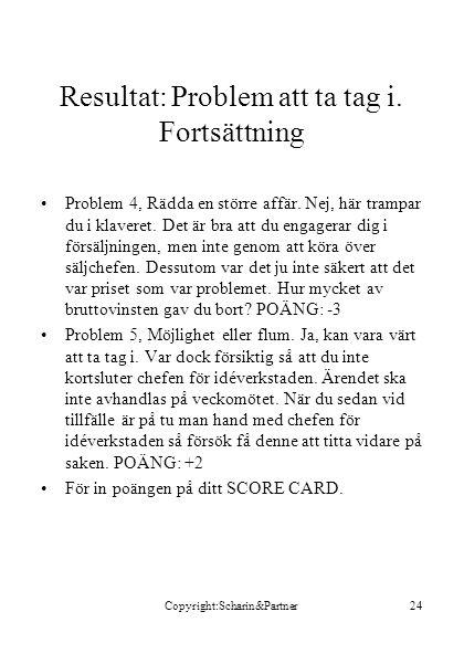 Copyright:Scharin&Partner24 Resultat: Problem att ta tag i.