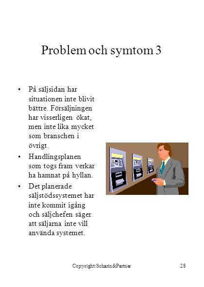 Copyright:Scharin&Partner28 Problem och symtom 3 •På säljsidan har situationen inte blivit bättre.