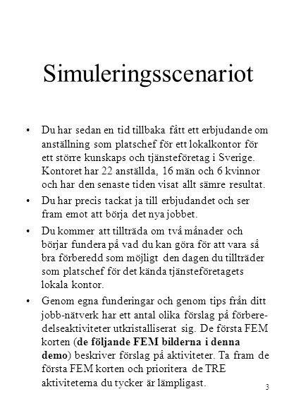 3 Simuleringsscenariot •Du har sedan en tid tillbaka fått ett erbjudande om anställning som platschef för ett lokalkontor för ett större kunskaps och tjänsteföretag i Sverige.