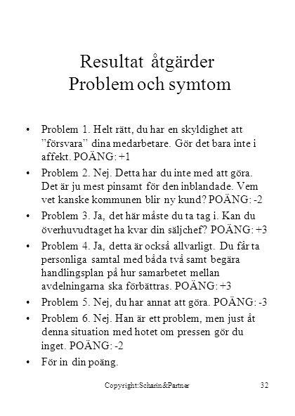 Copyright:Scharin&Partner32 Resultat åtgärder Problem och symtom •Problem 1.