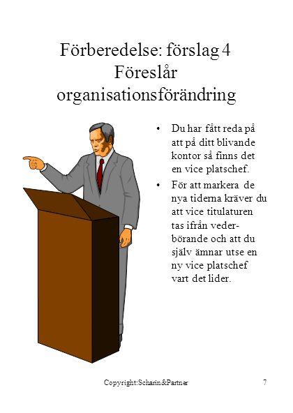 Copyright:Scharin&Partner7 Förberedelse: förslag 4 Föreslår organisationsförändring •Du har fått reda på att på ditt blivande kontor så finns det en vice platschef.
