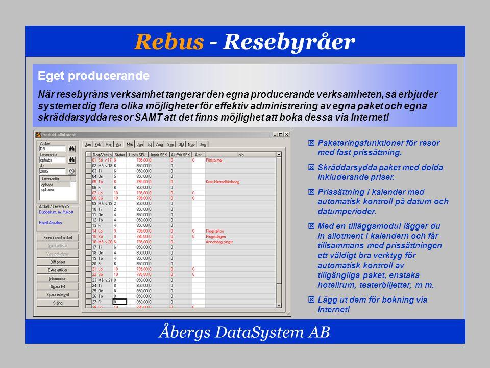 Rebus - Resebyråer Åbergs DataSystem AB  Paketeringsfunktioner för resor med fast prissättning.  Skräddarsydda paket med dolda inkluderande priser.
