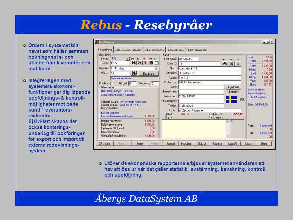 Rebus - Resebyråer Åbergs DataSystem AB Ordern i systemet blir navet som håller samman bokningens in- och utflöde från leverantör och mot kund. Integr