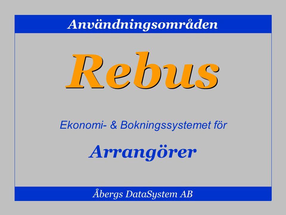 Användningsområden Åbergs DataSystem AB Arrangörer Rebus Ekonomi- & Bokningssystemet för