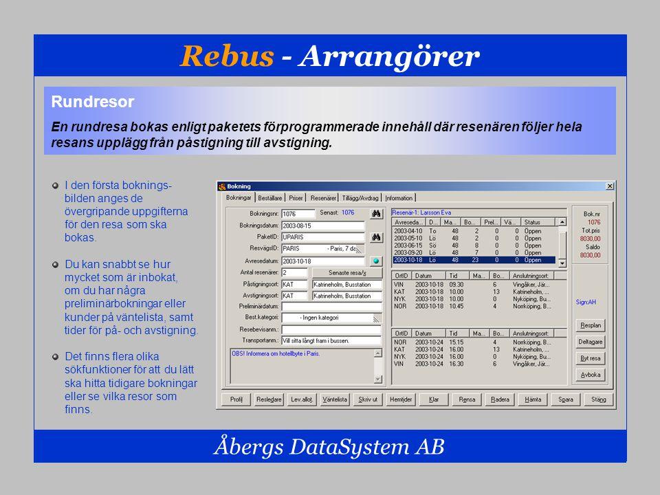 Rebus - Arrangörer Åbergs DataSystem AB Rundresor En rundresa bokas enligt paketets förprogrammerade innehåll där resenären följer hela resans upplägg