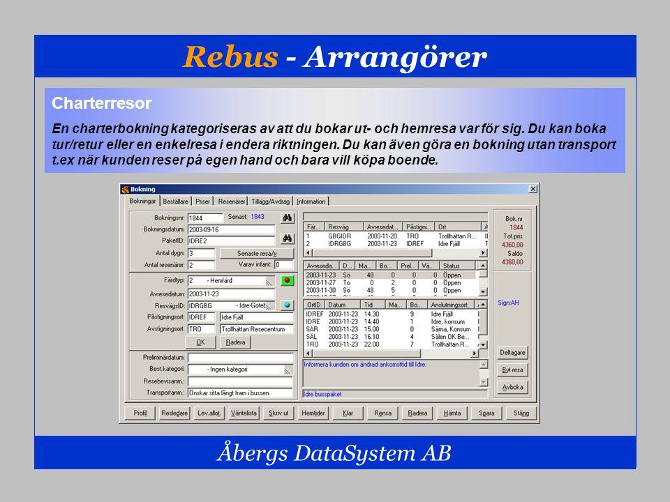 Rebus - Arrangörer Åbergs DataSystem AB Charterresor En charterbokning kategoriseras av att du bokar ut- och hemresa var för sig. Du kan boka tur/retu