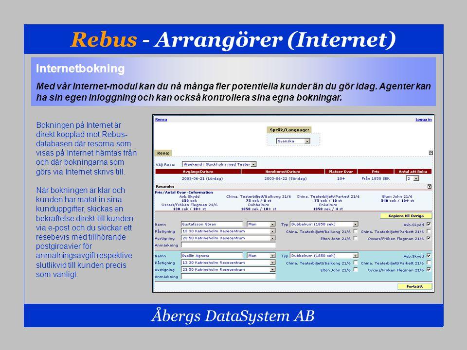 Rebus - Arrangörer (Internet) Åbergs DataSystem AB Internetbokning Med vår Internet-modul kan du nå många fler potentiella kunder än du gör idag. Agen