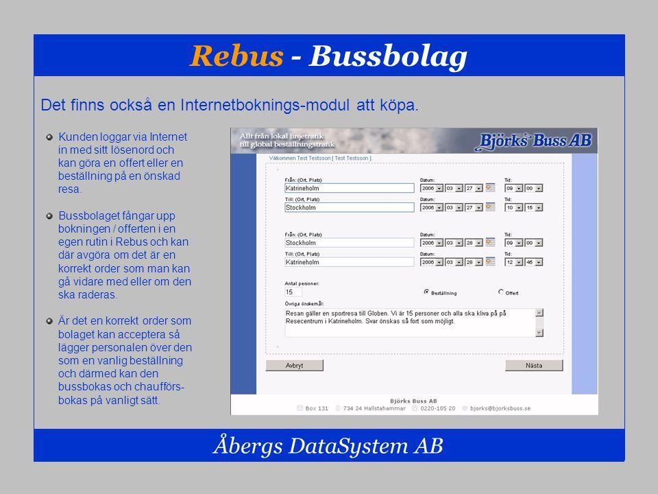 Rebus - Bussbolag Åbergs DataSystem AB Kunden loggar via Internet in med sitt lösenord och kan göra en offert eller en beställning på en önskad resa.