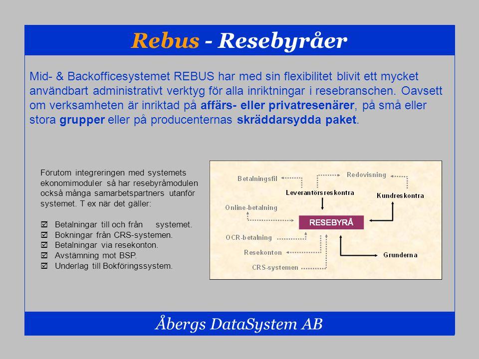 Rebus - Resebyråer Åbergs DataSystem AB Mid- & Backofficesystemet REBUS har med sin flexibilitet blivit ett mycket användbart administrativt verktyg f