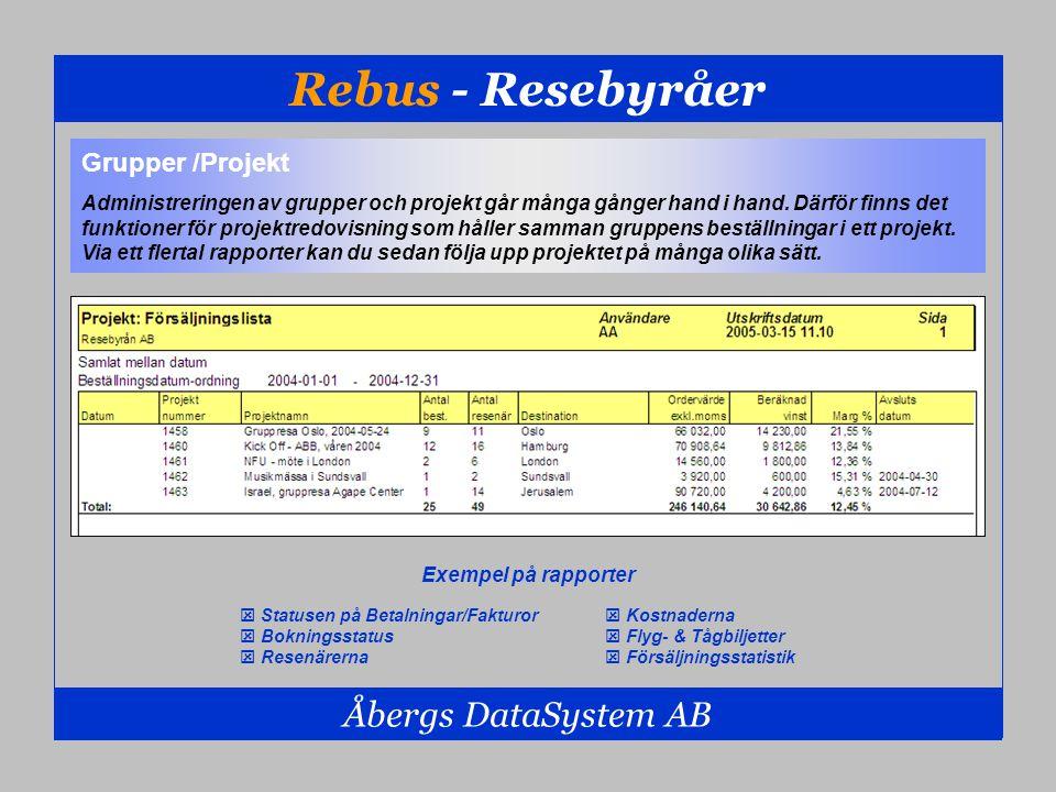 Rebus - Resebyråer Åbergs DataSystem AB  Statusen på Betalningar/Fakturor  Bokningsstatus  Resenärerna Grupper /Projekt Administreringen av grupper
