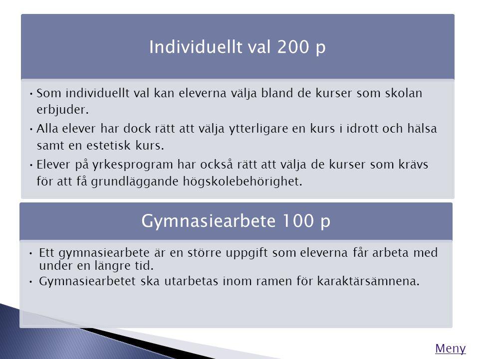 Meny Individuellt val 200 p •Som individuellt val kan eleverna välja bland de kurser som skolan erbjuder. •Alla elever har dock rätt att välja ytterli