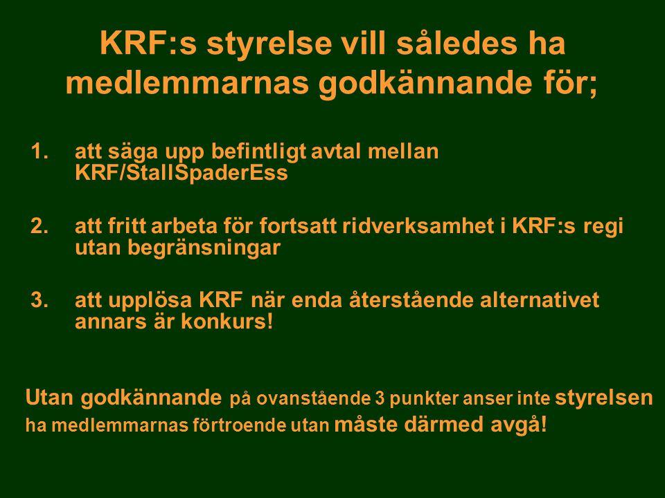 KRF:s styrelse vill således ha medlemmarnas godkännande för; 1.att säga upp befintligt avtal mellan KRF/StallSpaderEss 2.att fritt arbeta för fortsatt