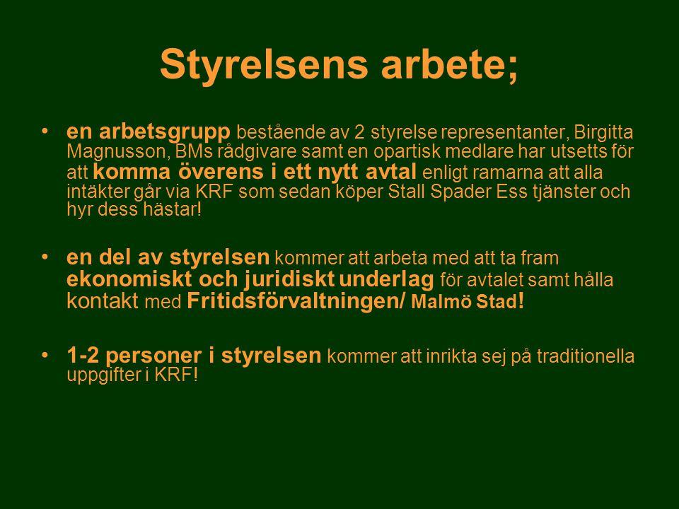 •en arbetsgrupp bestående av 2 styrelse representanter, Birgitta Magnusson, BMs rådgivare samt en opartisk medlare har utsetts för att komma överens i