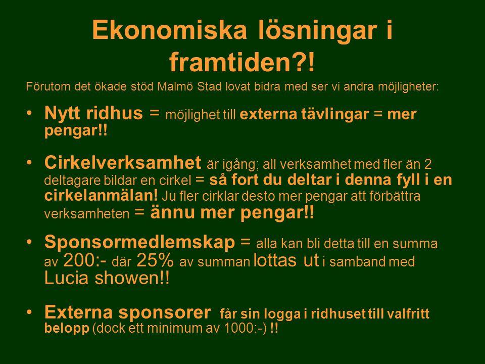 Ekonomiska lösningar i framtiden?! Förutom det ökade stöd Malmö Stad lovat bidra med ser vi andra möjligheter: •Nytt ridhus = möjlighet till externa t
