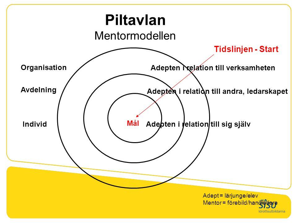 Piltavlan Mentormodellen Tidslinjen - Start Mål Adepten i relation till verksamheten Adepten i relation till andra, ledarskapet Adepten i relation til