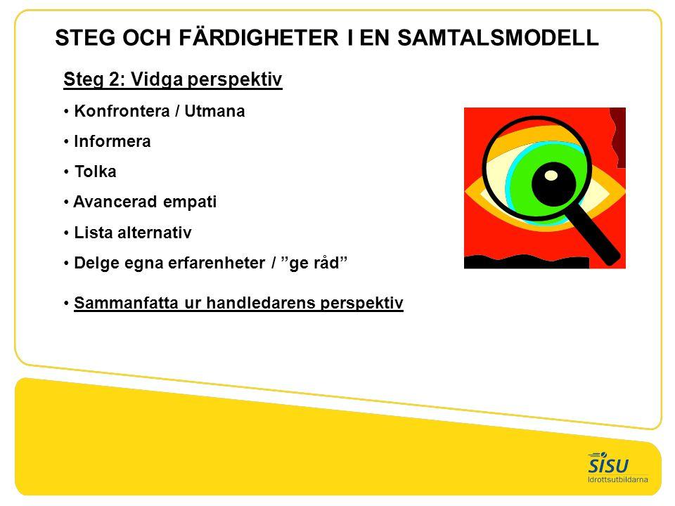 Steg 3:Formulera mål och delmål • Brainstorming och drömteknik • Konfrontera / utmana • Listning Steg 4:Upprätta handlingsplan • Finna sätt att realisera mål och delmål • Välja bästa sättet Steg 5:Utvärdering – uppföljning • Fokusera processen • Fokusera den handledde • Fokusera handledaren STEG OCH FÄRDIGHETER I EN SAMTALSMODELL