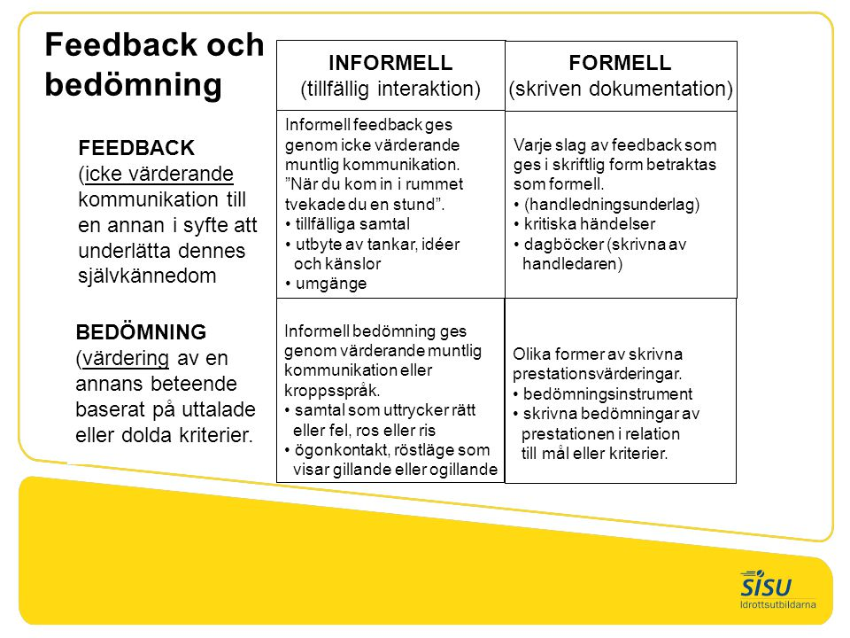 Feedback och bedömning Informell bedömning ges genom värderande muntlig kommunikation eller kroppsspråk. • samtal som uttrycker rätt eller fel, ros el