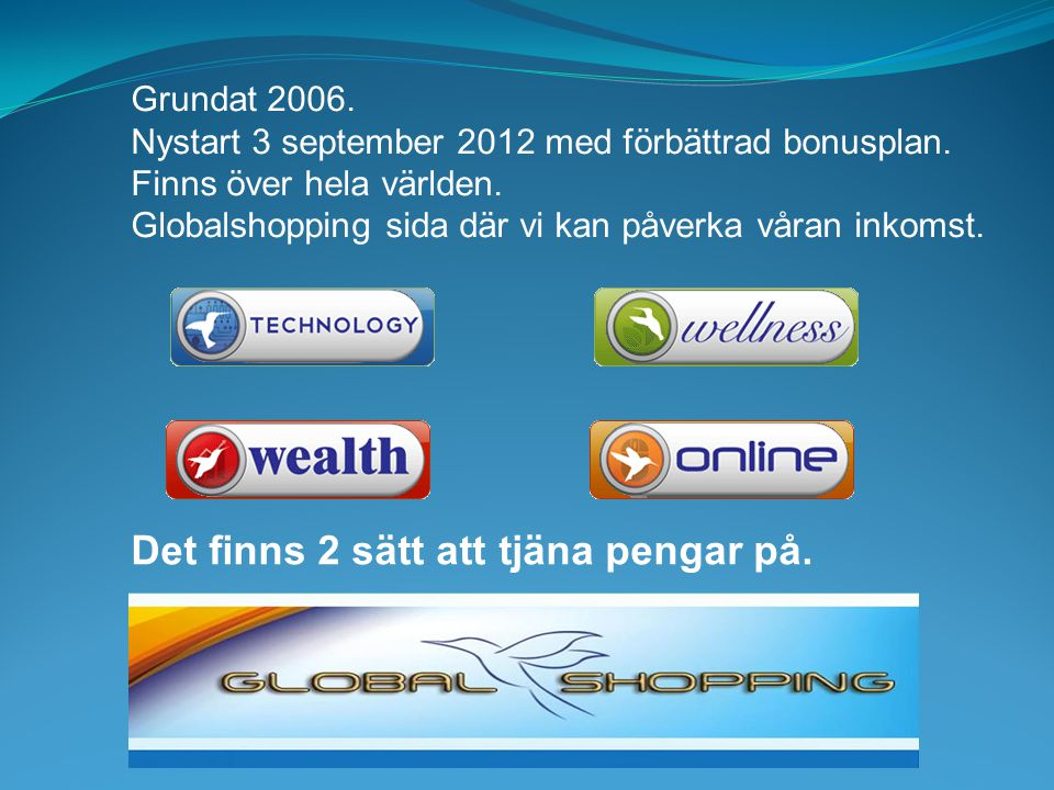 Grundat 2006.Nystart 3 september 2012 med förbättrad bonusplan.