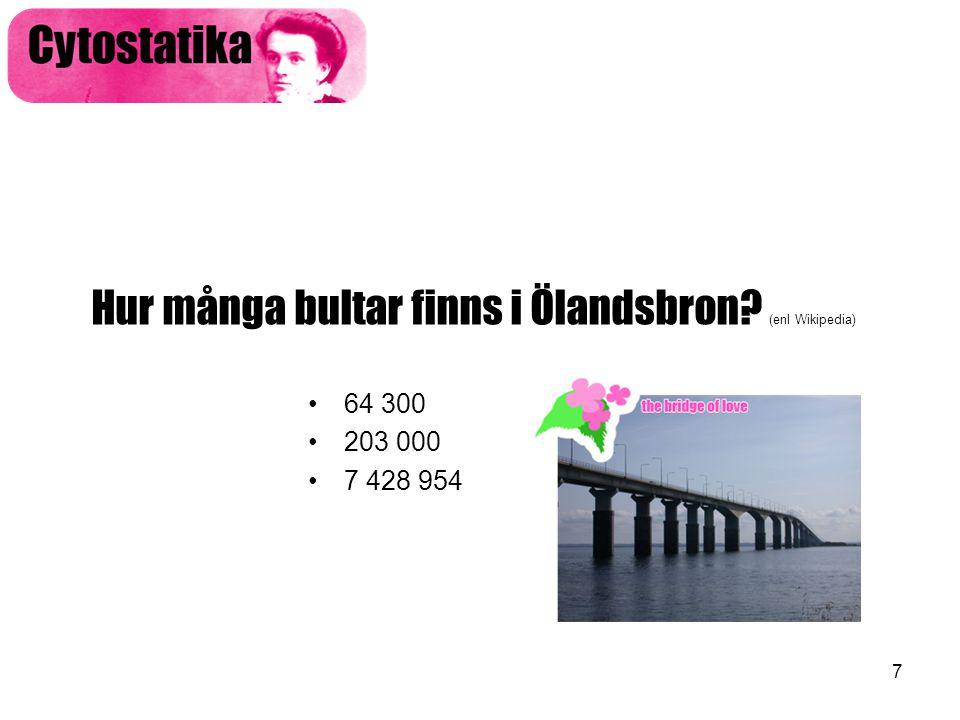 7 Hur många bultar finns i Ölandsbron? (enl Wikipedia) •64 300 •203 000 •7 428 954