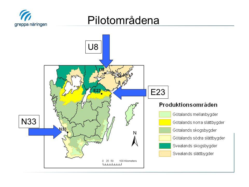 Strukturkalkning i pilotområde U8 • Giva: 4 ton/ha Nordkalk Aktiv • Spridningsperiod: juni - september 2010 • Jordbearbetning: ca en vecka efter spridning förutom på vall och träda (50 ha) • Omfattning: 90 % av åkerarealen (293 ha)