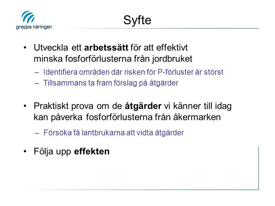 E23 i Östergötland •Arbetssätt: –Lantbrukare, markägare & hästägare har inte valt pilotprojektet Greppa P – respektera det.