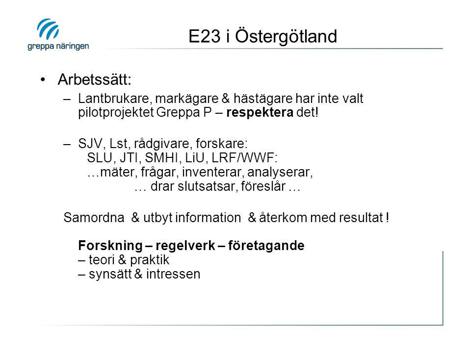 E23 i Östergötland •Arbetssätt: –Lantbrukare, markägare & hästägare har inte valt pilotprojektet Greppa P – respektera det! –SJV, Lst, rådgivare, fors