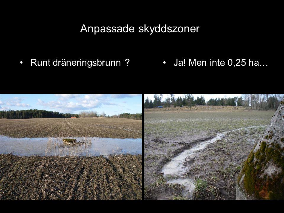 •Runt dräneringsbrunn ? Anpassade skyddszoner •Ja! Men inte 0,25 ha…