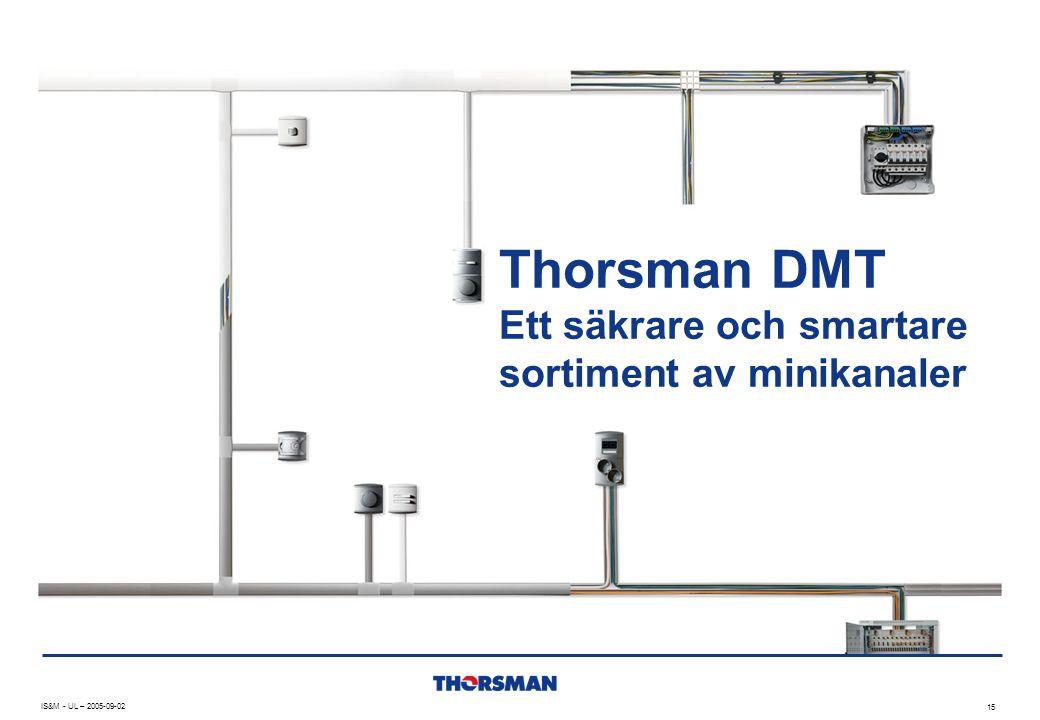 IS&M - UL – 2005-09-02 15 Thorsman DMT Ett säkrare och smartare sortiment av minikanaler