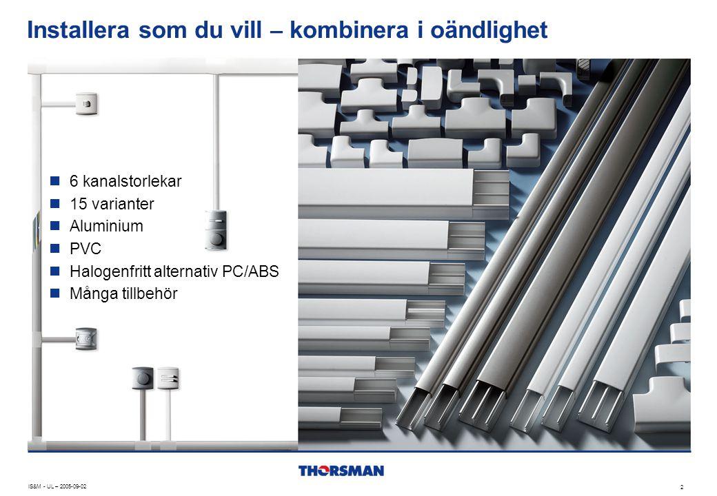 Material, design och dimensioner IS&M - UL – 2005-09-02 13 Alu PVC PC/ABS X X * X X X X X X X PC/ABS = Halogenfri * Finns även med dubbelhäftande tejp X 1220 18201230183518452560 * KlammerTTM-KL26 TTM-KL36