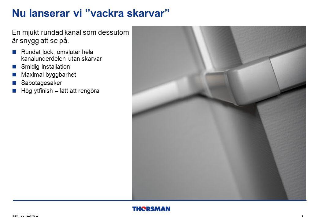 Enfack eller flerfack – för både kraft och data IS&M - UL – 2005-09-02 5 DMT finns i både 1-, 2- och 3-facksutförande  Mixade installationer  Starkström, koppar- och fibernät i samma kanal  Både PVC och aluminium i samma installation