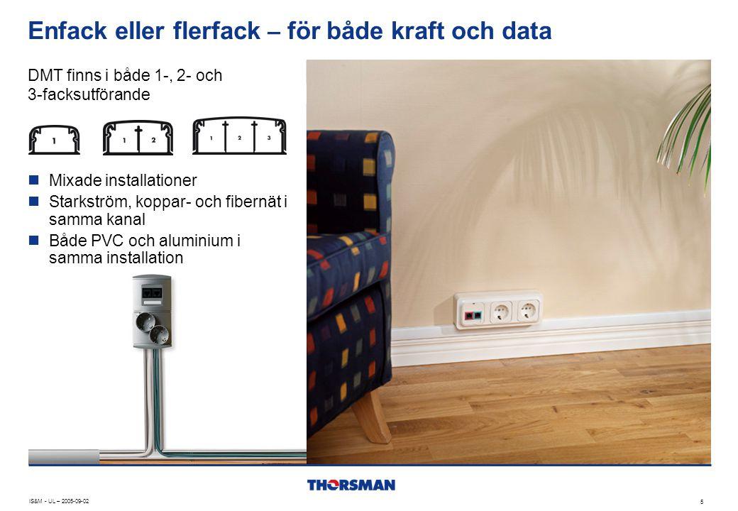 Enfack eller flerfack – för både kraft och data IS&M - UL – 2005-09-02 5 DMT finns i både 1-, 2- och 3-facksutförande  Mixade installationer  Starks