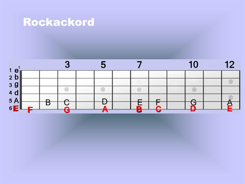 Klicka med musen Rockackord (Kvintackord) skrivs, bokstav + siffran 5: Ex.