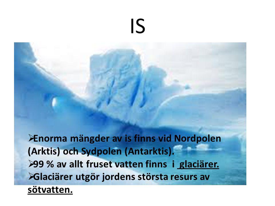 IS  Enorma mängder av is finns vid Nordpolen (Arktis) och Sydpolen (Antarktis).