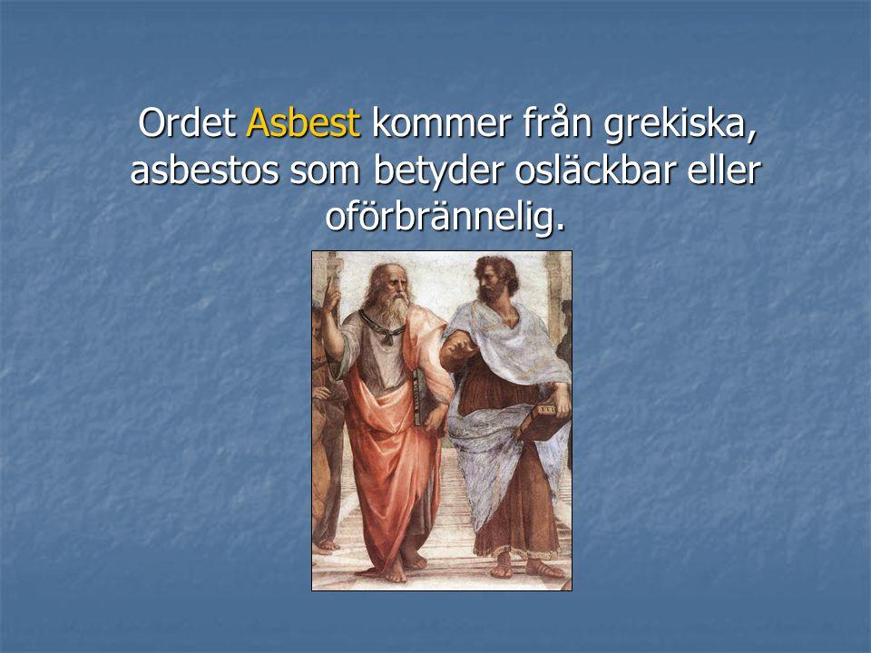 Ordet Asbest kommer från grekiska, asbestos som betyder osläckbar eller oförbrännelig.