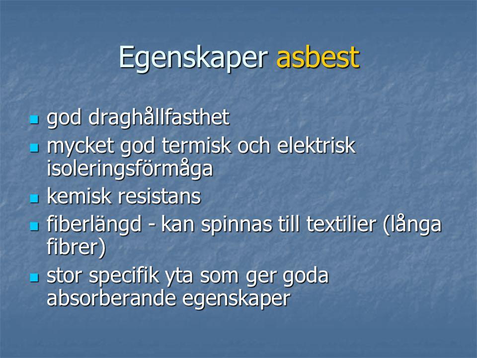 Egenskaper asbest  god draghållfasthet  mycket god termisk och elektrisk isoleringsförmåga  kemisk resistans  fiberlängd - kan spinnas till textilier (långa fibrer)  stor specifik yta som ger goda absorberande egenskaper
