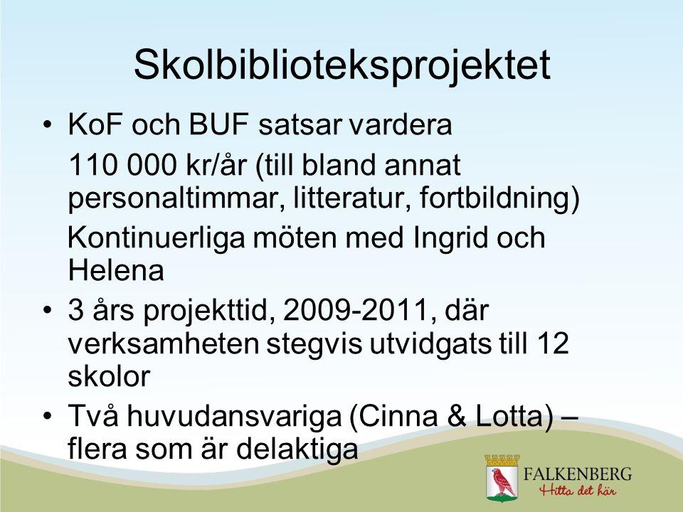 •KoF och BUF satsar vardera 110 000 kr/år (till bland annat personaltimmar, litteratur, fortbildning) Kontinuerliga möten med Ingrid och Helena •3 års projekttid, 2009-2011, där verksamheten stegvis utvidgats till 12 skolor •Två huvudansvariga (Cinna & Lotta) – flera som är delaktiga Skolbiblioteksprojektet