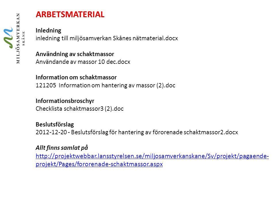 Inledning inledning till miljösamverkan Skånes nätmaterial.docx Användning av schaktmassor Användande av massor 10 dec.docx Information om schaktmasso